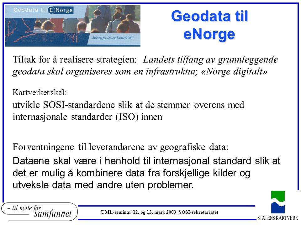 UML-seminar 12. og 13. mars 2003 SOSI-sekretariatet Geodata til eNorge Tiltak for å realisere strategien: Landets tilfang av grunnleggende geodata ska