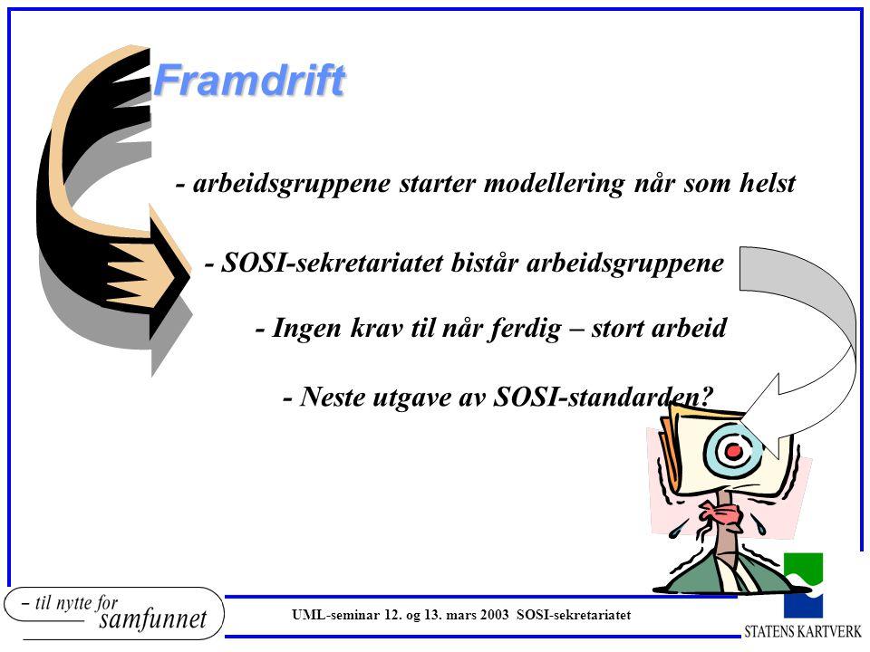 Framdrift UML-seminar 12. og 13. mars 2003 SOSI-sekretariatet - arbeidsgruppene starter modellering når som helst - SOSI-sekretariatet bistår arbeidsg