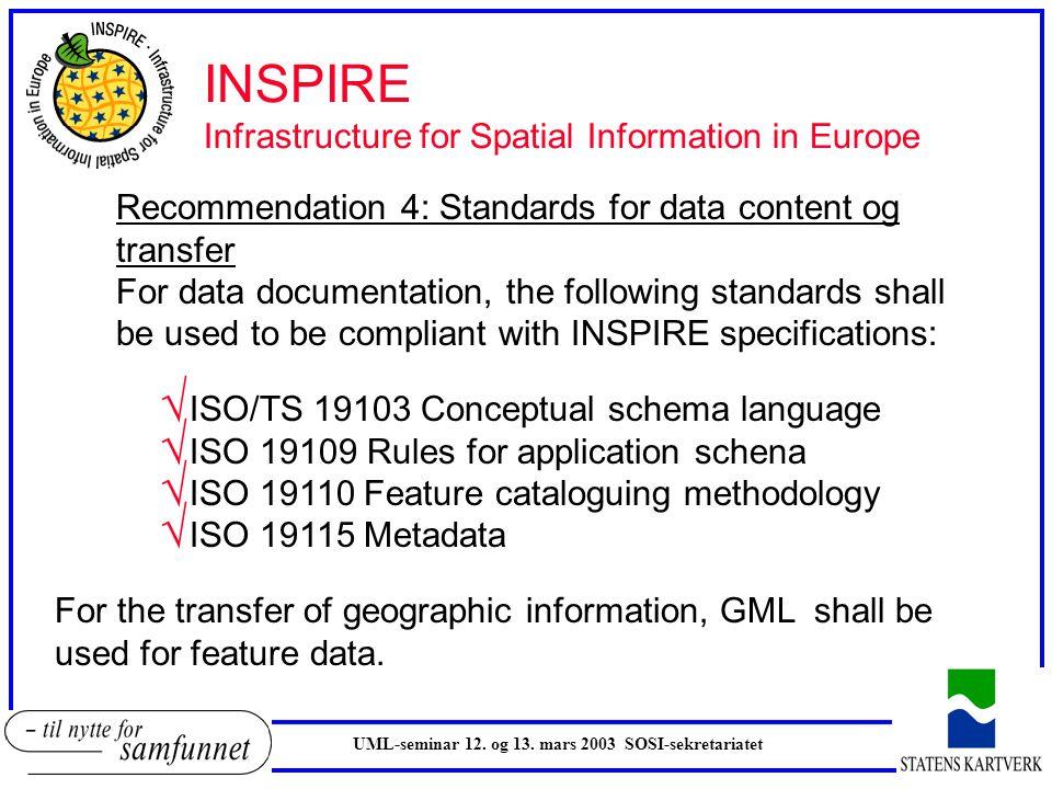 UML-seminar 12. og 13. mars 2003 SOSI-sekretariatet INSPIRE Infrastructure for Spatial Information in Europe Recommendation 4: Standards for data cont
