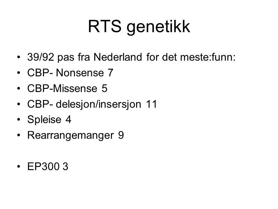 RTS genetikk 39/92 pas fra Nederland for det meste:funn: CBP- Nonsense 7 CBP-Missense 5 CBP- delesjon/insersjon 11 Spleise 4 Rearrangemanger 9 EP300 3