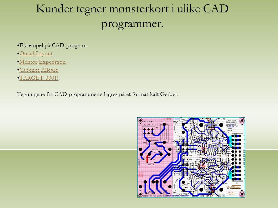 Kunder tegner mønsterkort i ulike CAD programmer.