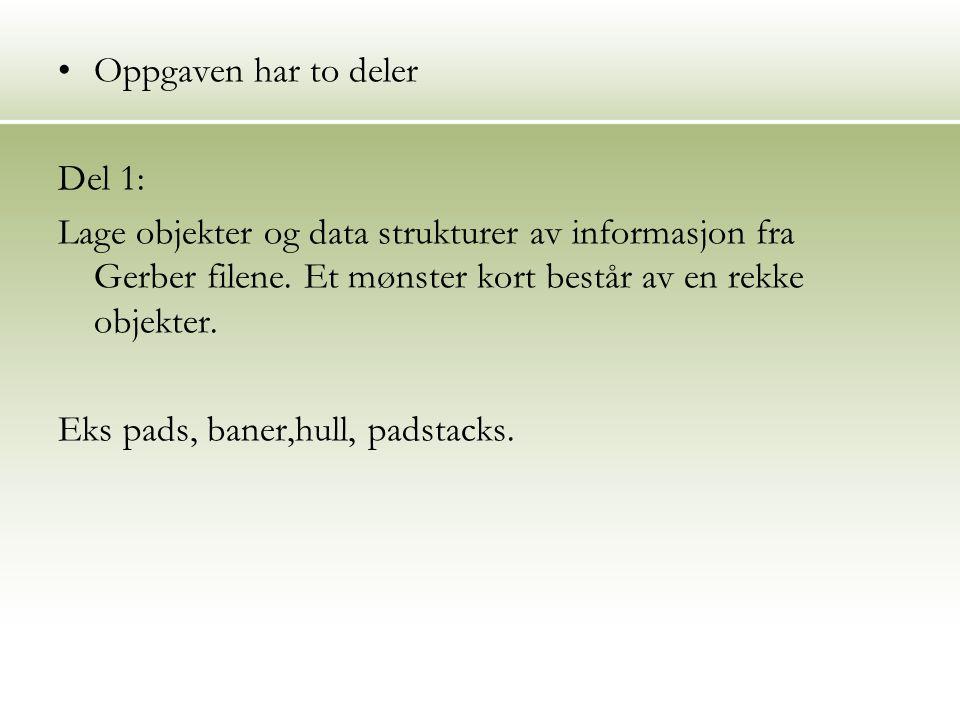 Oppgaven har to deler Del 1: Lage objekter og data strukturer av informasjon fra Gerber filene.