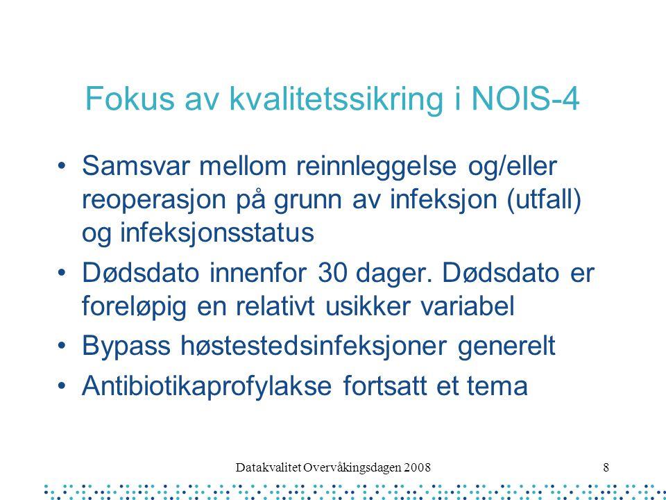 8 Fokus av kvalitetssikring i NOIS-4 Samsvar mellom reinnleggelse og/eller reoperasjon på grunn av infeksjon (utfall) og infeksjonsstatus Dødsdato innenfor 30 dager.