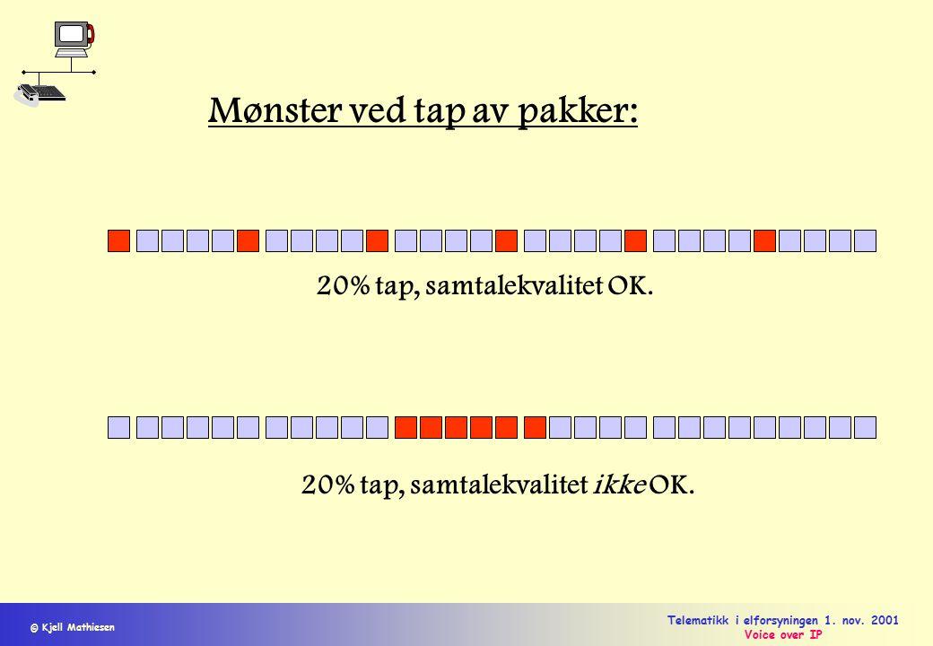 © Kjell Mathiesen Telematikk i elforsyningen 1. nov. 2001 Voice over IP Mønster ved tap av pakker: 20% tap, samtalekvalitet OK. 20% tap, samtalekvalit