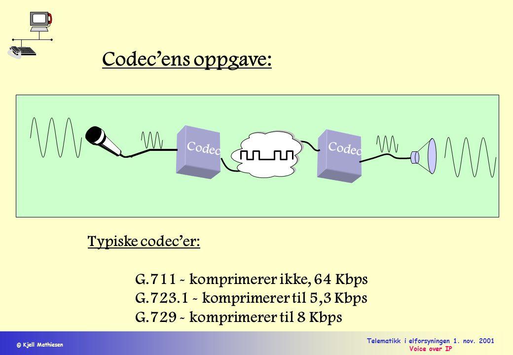 © Kjell Mathiesen Telematikk i elforsyningen 1. nov. 2001 Voice over IP Codec Codec'ens oppgave: Typiske codec'er: G.711 - komprimerer ikke, 64 Kbps G