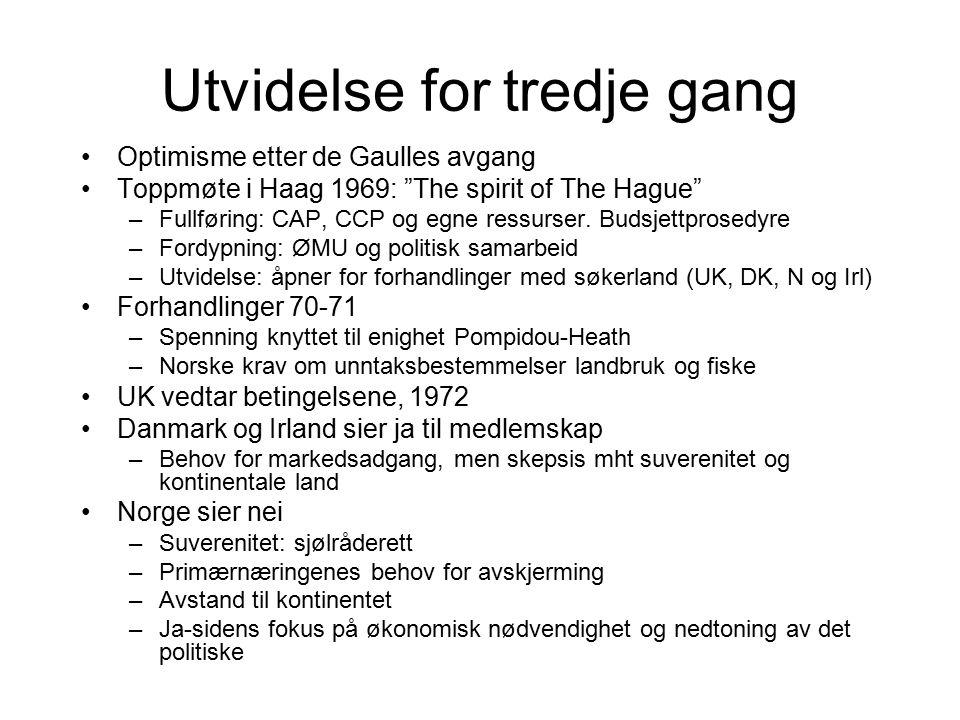 """Utvidelse for tredje gang Optimisme etter de Gaulles avgang Toppmøte i Haag 1969: """"The spirit of The Hague"""" –Fullføring: CAP, CCP og egne ressurser. B"""