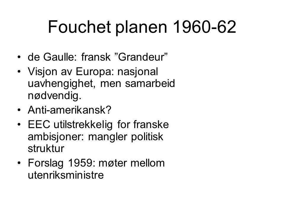 Fouchet planen 1960-62 de Gaulle: fransk Grandeur Visjon av Europa: nasjonal uavhengighet, men samarbeid nødvendig.