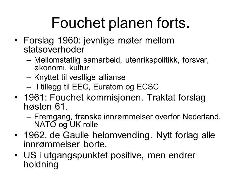 Fouchet planen forts. Forslag 1960: jevnlige møter mellom statsoverhoder –Mellomstatlig samarbeid, utenrikspolitikk, forsvar, økonomi, kultur –Knyttet