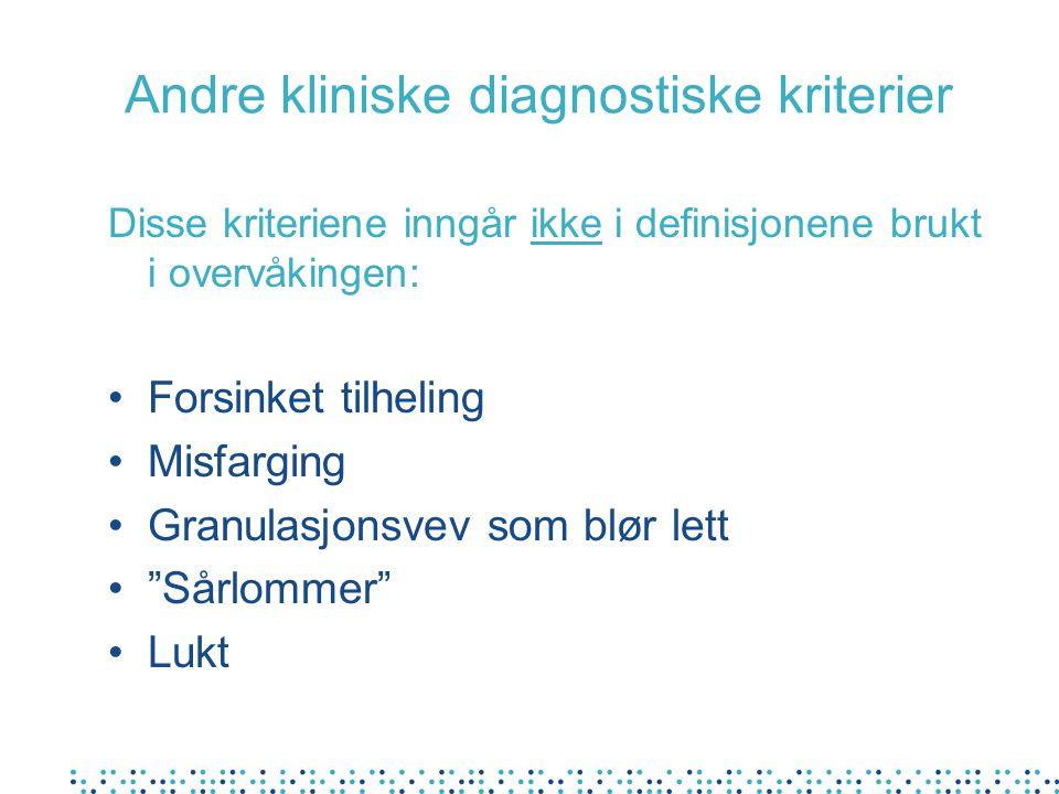 Andre kliniske diagnostiske kriterier Disse kriteriene inngår ikke i definisjonene brukt i overvåkingen: Forsinket tilheling Misfarging Granulasjonsve