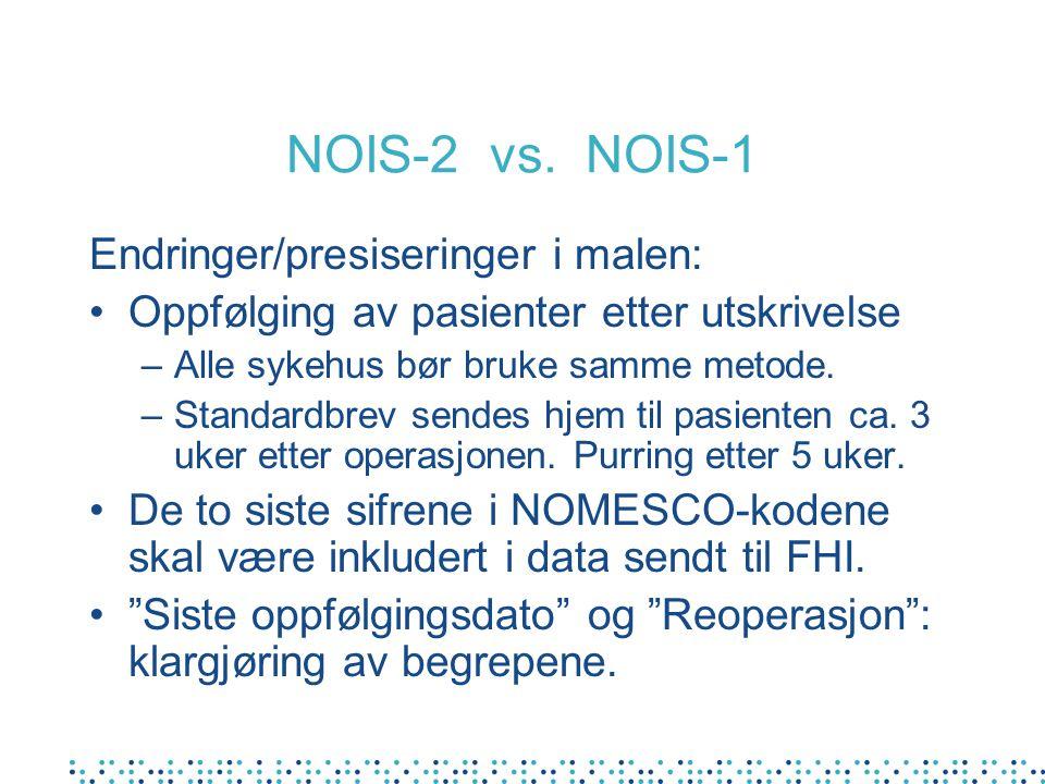 NOIS-2 vs. NOIS-1 Endringer/presiseringer i malen: Oppfølging av pasienter etter utskrivelse –Alle sykehus bør bruke samme metode. –Standardbrev sende