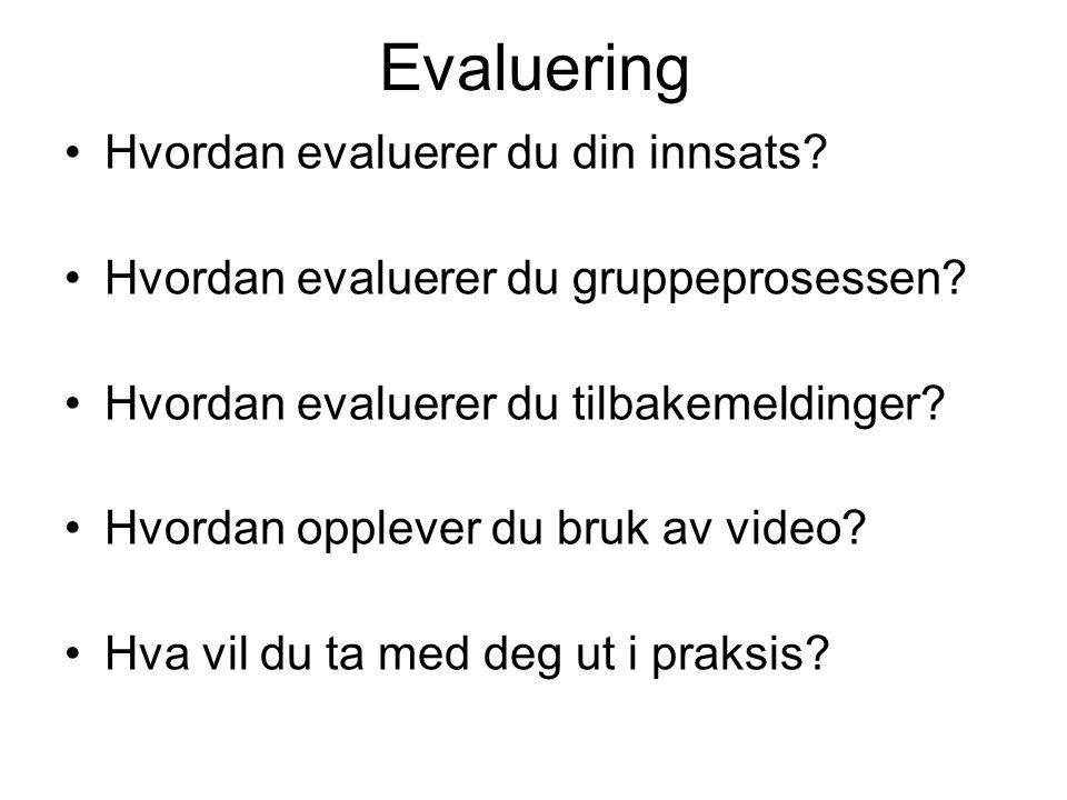 Evaluering Hvordan evaluerer du din innsats? Hvordan evaluerer du gruppeprosessen? Hvordan evaluerer du tilbakemeldinger? Hvordan opplever du bruk av