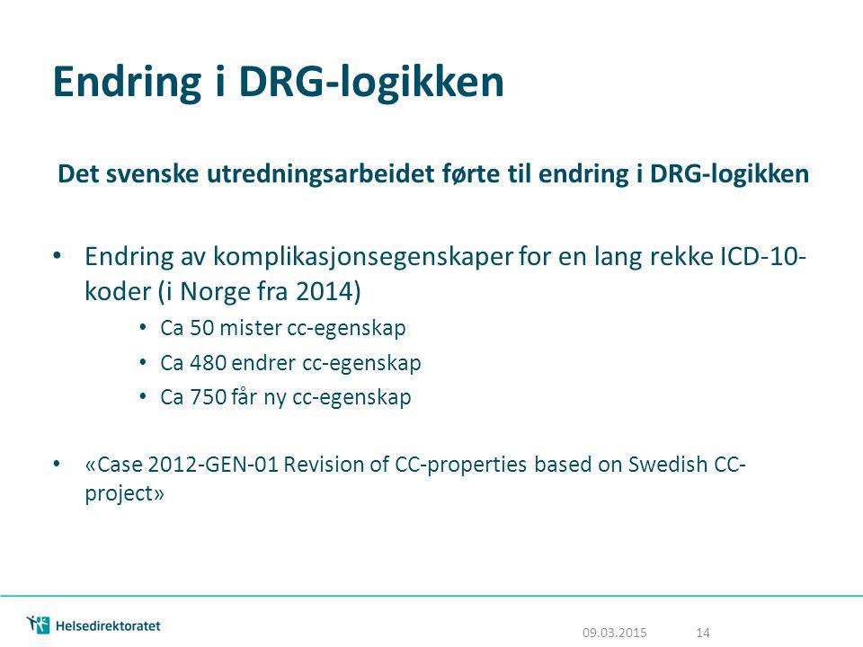 Endring i DRG-logikken Det svenske utredningsarbeidet førte til endring i DRG-logikken Endring av komplikasjonsegenskaper for en lang rekke ICD-10- ko