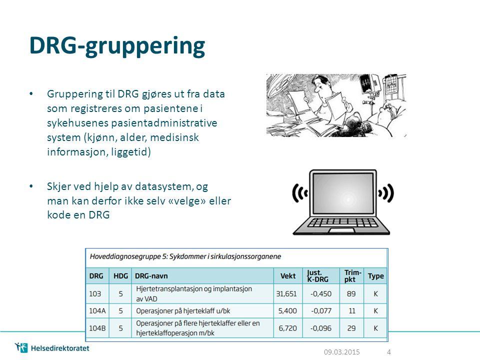 DRG-gruppering Gruppering til DRG gjøres ut fra data som registreres om pasientene i sykehusenes pasientadministrative system (kjønn, alder, medisinsk