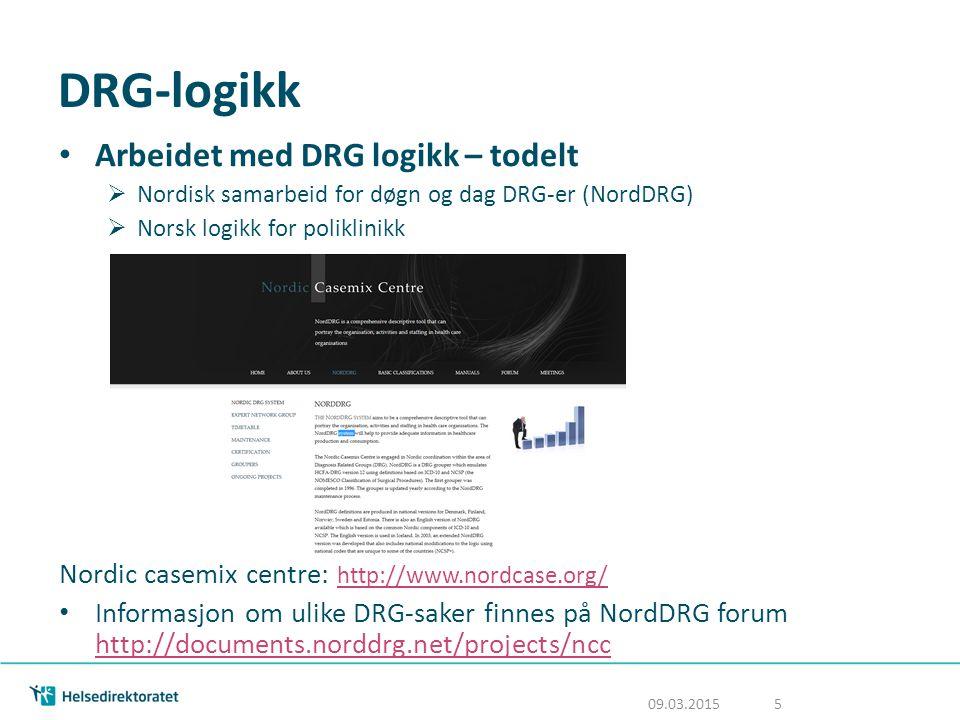DRG-logikk Arbeidet med DRG logikk – todelt  Nordisk samarbeid for døgn og dag DRG-er (NordDRG)  Norsk logikk for poliklinikk Nordic casemix centre: