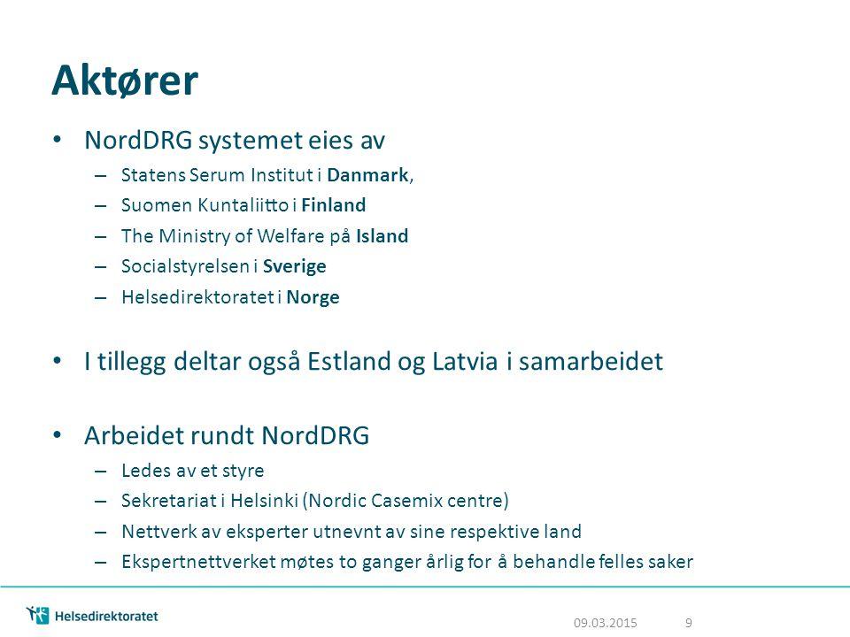 Aktører NordDRG systemet eies av – Statens Serum Institut i Danmark, – Suomen Kuntaliitto i Finland – The Ministry of Welfare på Island – Socialstyrel