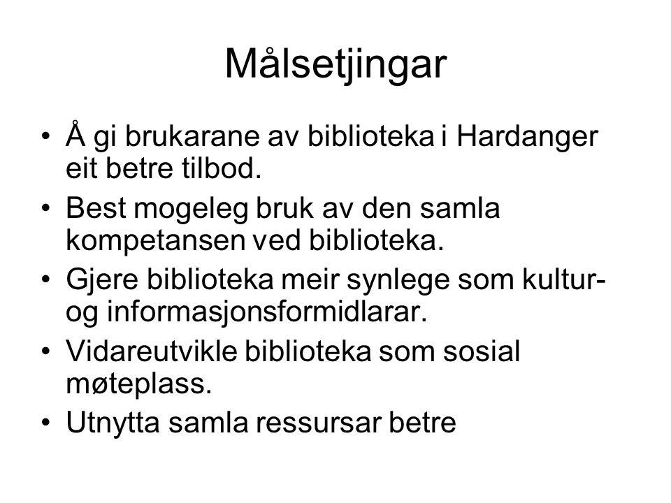Målsetjingar Å gi brukarane av biblioteka i Hardanger eit betre tilbod.