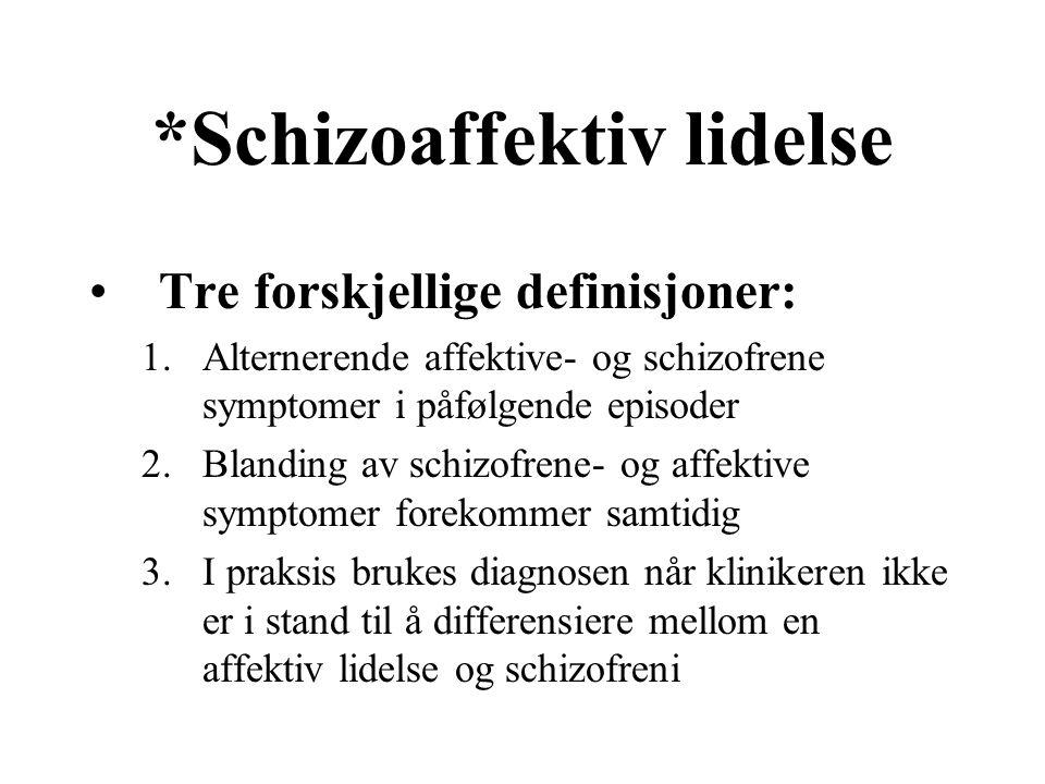 *Schizoaffektiv lidelse Tre forskjellige definisjoner: 1.Alternerende affektive- og schizofrene symptomer i påfølgende episoder 2.Blanding av schizofr