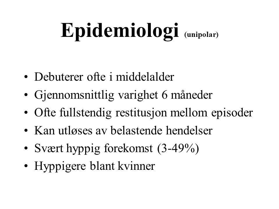 Epidemiologi (unipolar) Debuterer ofte i middelalder Gjennomsnittlig varighet 6 måneder Ofte fullstendig restitusjon mellom episoder Kan utløses av be