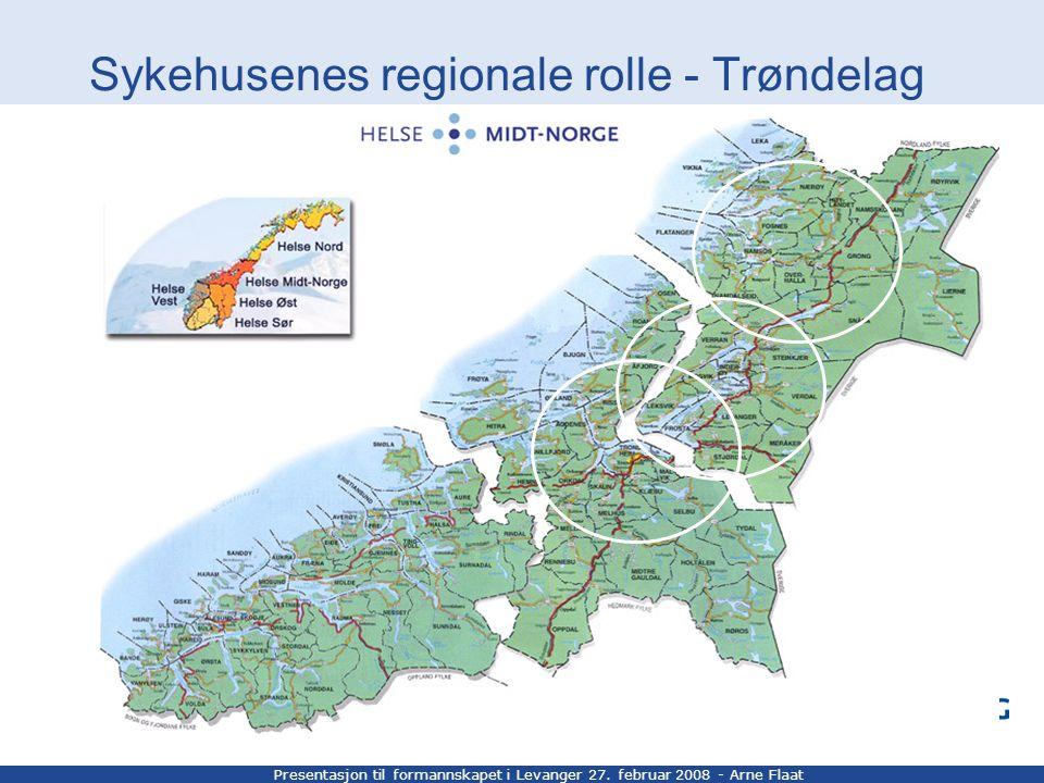 Presentasjon til formannskapet i Levanger 27. februar 2008 - Arne Flaat Sykehusenes regionale rolle - Trøndelag