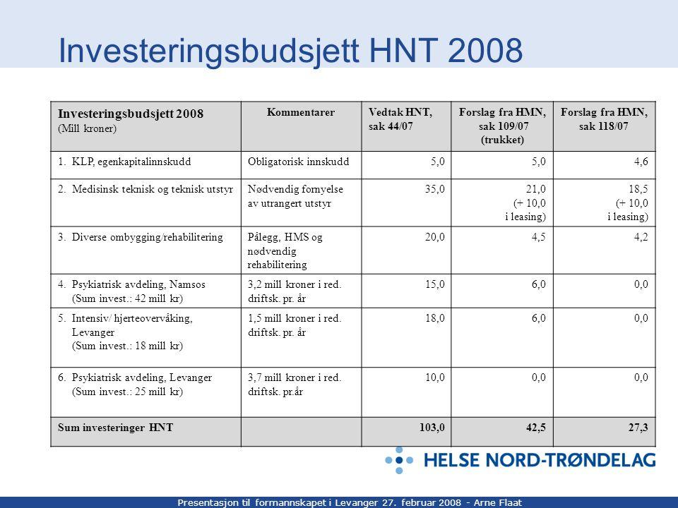 Presentasjon til formannskapet i Levanger 27. februar 2008 - Arne Flaat Investeringsbudsjett HNT 2008 Investeringsbudsjett 2008 (Mill kroner) Kommenta