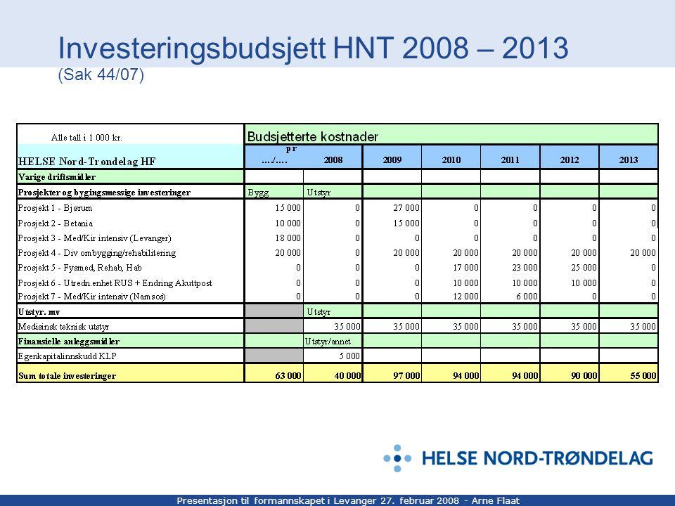 Presentasjon til formannskapet i Levanger 27. februar 2008 - Arne Flaat Investeringsbudsjett HNT 2008 – 2013 (Sak 44/07)