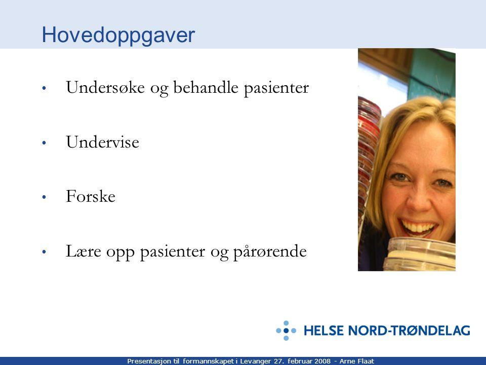 Presentasjon til formannskapet i Levanger 27. februar 2008 - Arne Flaat Hovedoppgaver Undersøke og behandle pasienter Undervise Forske Lære opp pasien