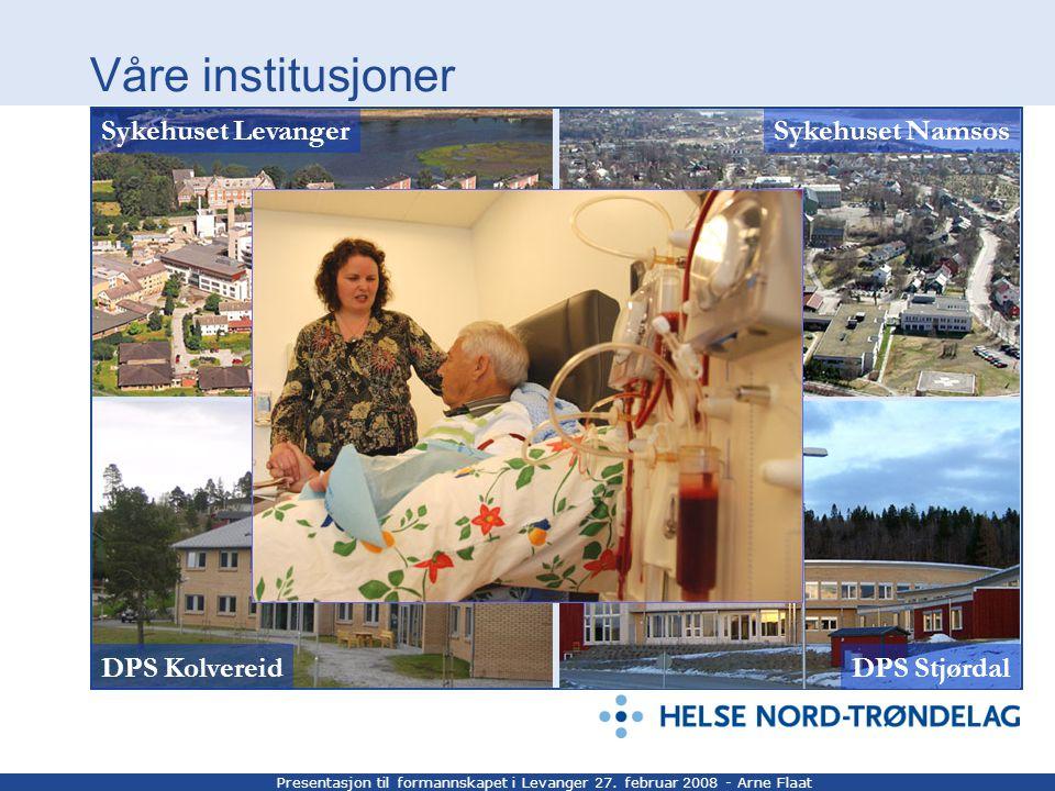 Presentasjon til formannskapet i Levanger 27. februar 2008 - Arne Flaat Våre institusjoner DPS StjørdalDPS Kolvereid Sykehuset LevangerSykehuset Namso