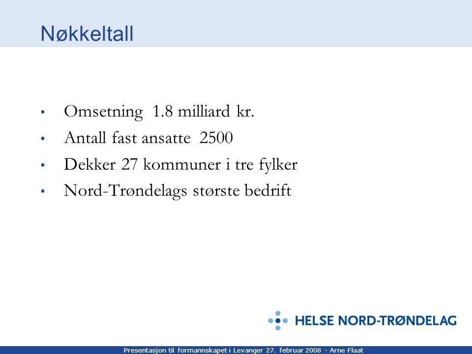 Presentasjon til formannskapet i Levanger 27. februar 2008 - Arne Flaat Nøkkeltall Omsetning 1.8 milliard kr. Antall fast ansatte 2500 Dekker 27 kommu