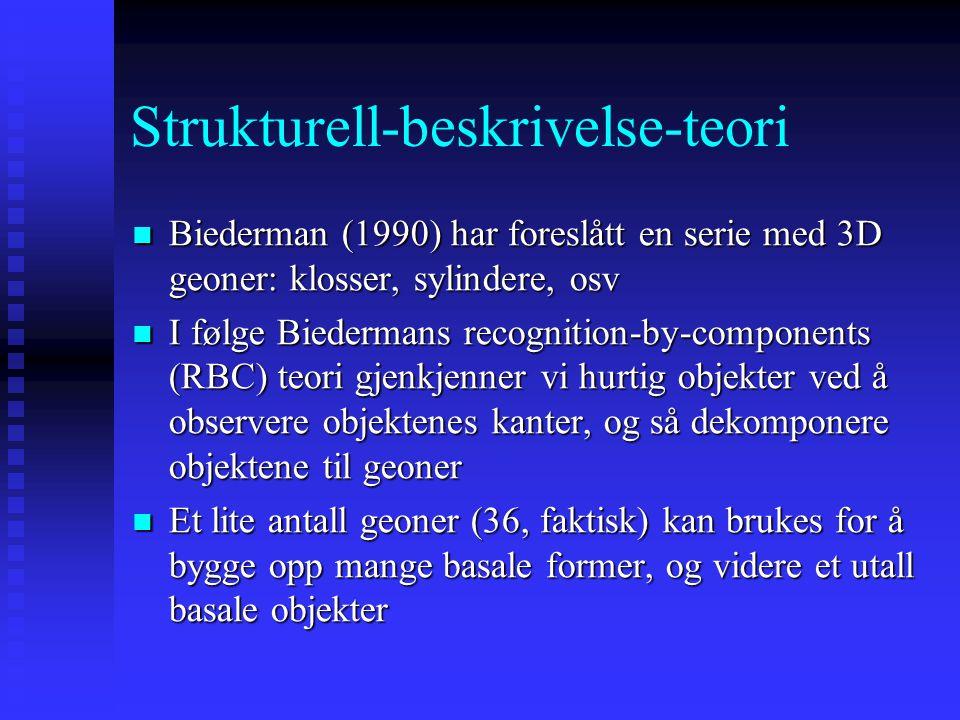 Strukturell-beskrivelse-teori Biederman (1990) har foreslått en serie med 3D geoner: klosser, sylindere, osv Biederman (1990) har foreslått en serie med 3D geoner: klosser, sylindere, osv I følge Biedermans recognition-by-components (RBC) teori gjenkjenner vi hurtig objekter ved å observere objektenes kanter, og så dekomponere objektene til geoner I følge Biedermans recognition-by-components (RBC) teori gjenkjenner vi hurtig objekter ved å observere objektenes kanter, og så dekomponere objektene til geoner Et lite antall geoner (36, faktisk) kan brukes for å bygge opp mange basale former, og videre et utall basale objekter Et lite antall geoner (36, faktisk) kan brukes for å bygge opp mange basale former, og videre et utall basale objekter