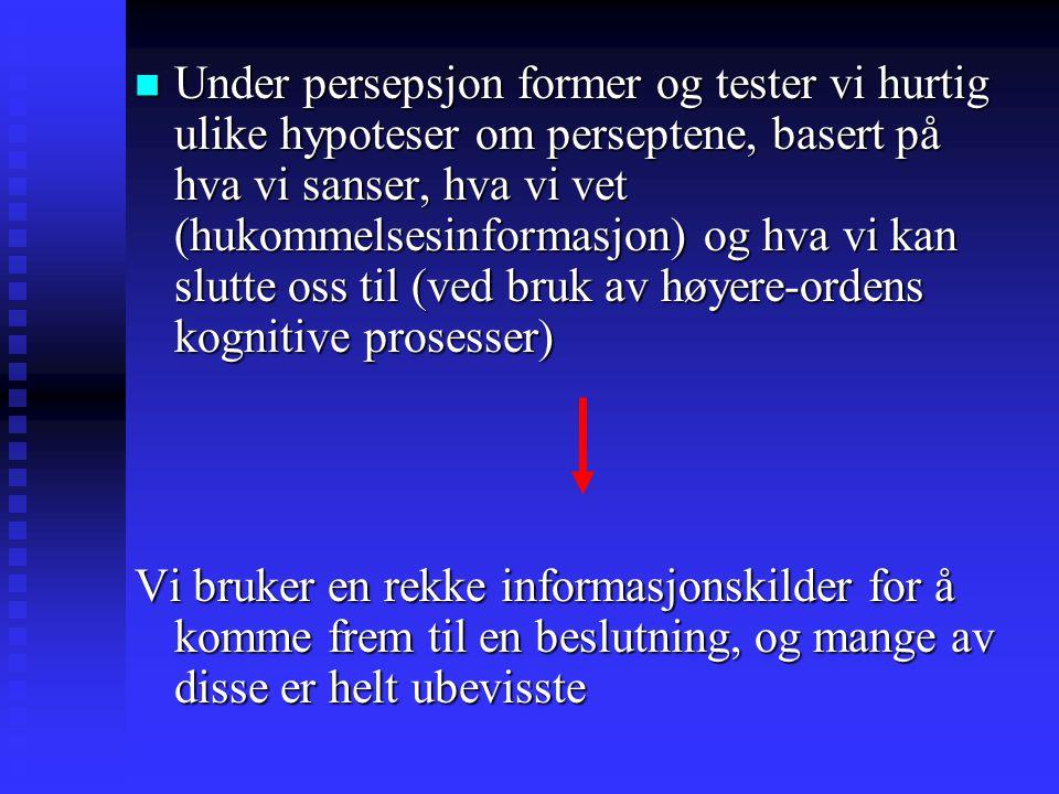 Under persepsjon former og tester vi hurtig ulike hypoteser om perseptene, basert på hva vi sanser, hva vi vet (hukommelsesinformasjon) og hva vi kan slutte oss til (ved bruk av høyere-ordens kognitive prosesser) Under persepsjon former og tester vi hurtig ulike hypoteser om perseptene, basert på hva vi sanser, hva vi vet (hukommelsesinformasjon) og hva vi kan slutte oss til (ved bruk av høyere-ordens kognitive prosesser) Vi bruker en rekke informasjonskilder for å komme frem til en beslutning, og mange av disse er helt ubevisste