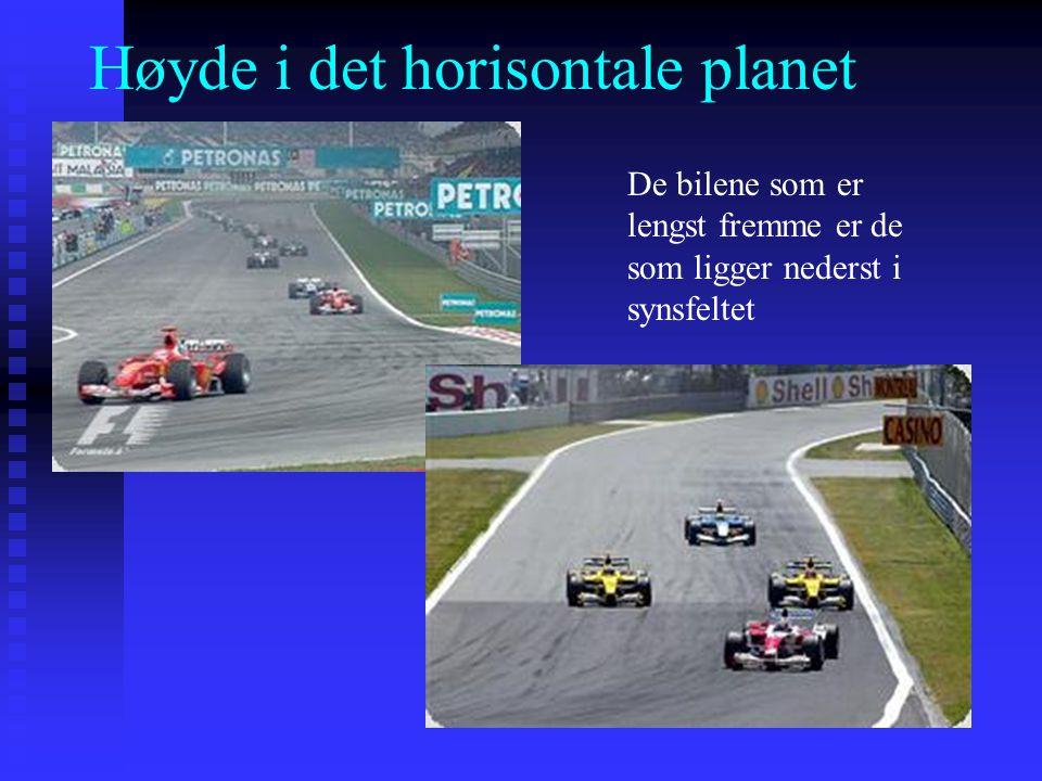 Høyde i det horisontale planet De bilene som er lengst fremme er de som ligger nederst i synsfeltet