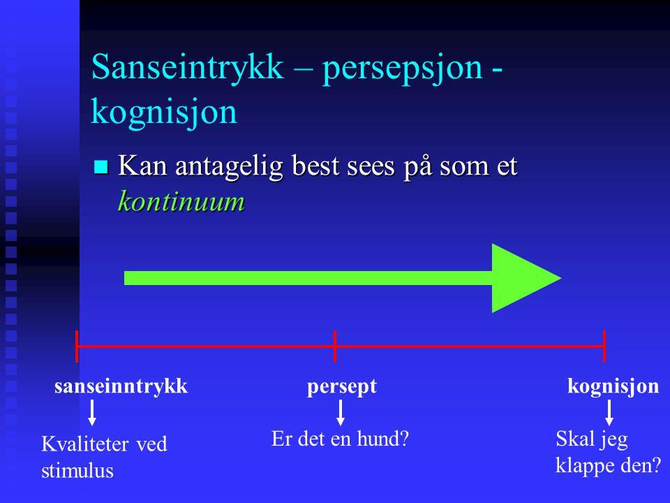 Sanseintrykk – persepsjon - kognisjon Kan antagelig best sees på som et kontinuum Kan antagelig best sees på som et kontinuum sanseinntrykk persept kognisjon Kvaliteter ved stimulus Er det en hund?Skal jeg klappe den?