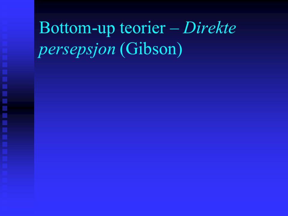 """To hovedmåter å se persepsjon """"Indirekte"""" persepsjon: persepsjon er resultatet av interaktive prosesser fra omverdenen og individet selv – bruk av ind"""