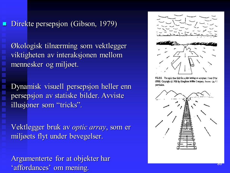 80 n Direkte persepsjon (Gibson, 1979) Økologisk tilnærming som vektlegger viktigheten av interaksjonen mellom mennesker og miljøet.