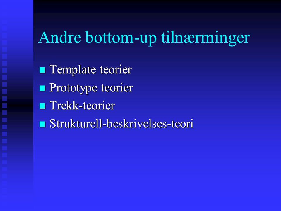 Andre bottom-up tilnærminger Template teorier Template teorier Prototype teorier Prototype teorier Trekk-teorier Trekk-teorier Strukturell-beskrivelses-teori Strukturell-beskrivelses-teori