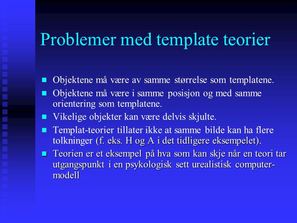 Problemer med template teorier Objektene må være av samme størrelse som templatene.