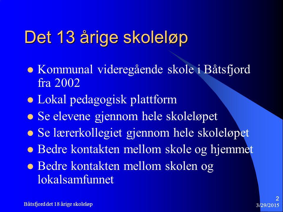 Det 13 årige skoleløp Kommunal videregående skole i Båtsfjord fra 2002 Lokal pedagogisk plattform Se elevene gjennom hele skoleløpet Se lærerkollegiet gjennom hele skoleløpet Bedre kontakten mellom skole og hjemmet Bedre kontakten mellom skolen og lokalsamfunnet 3/29/2015 Båtsfjord det 18 årige skoleløp 2