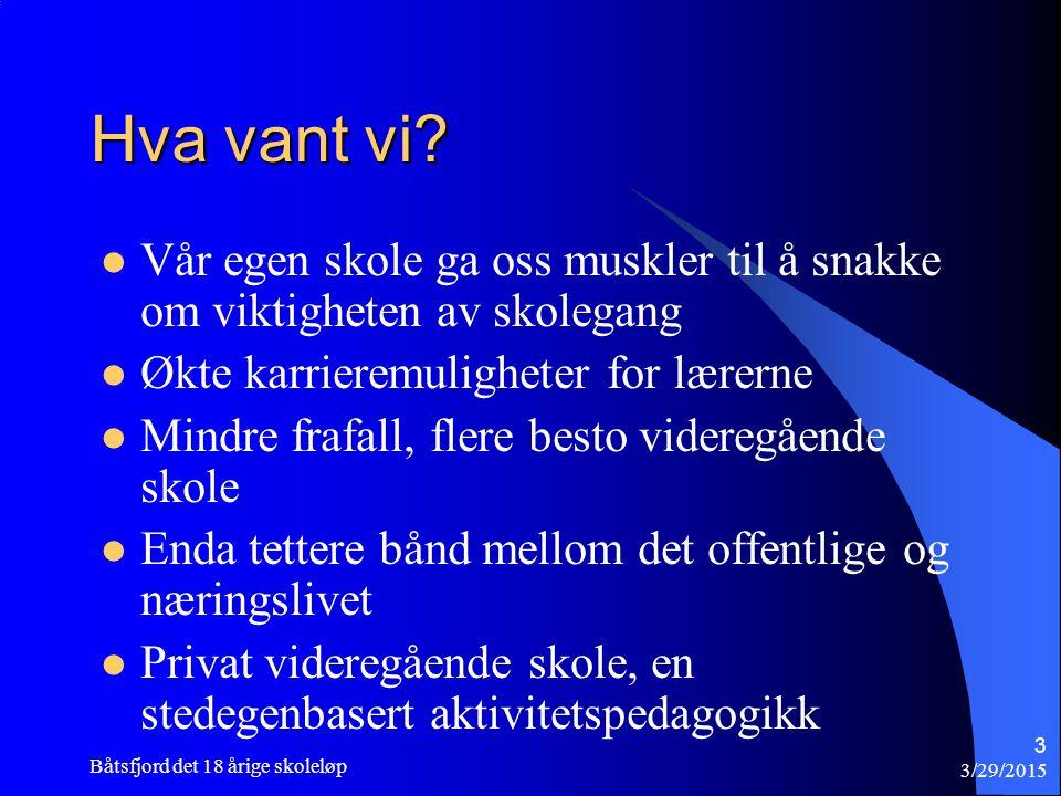 Tidlig innsats 3/29/2015 Båtsfjord det 18 årige skoleløp 4