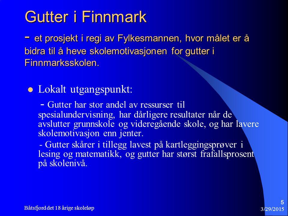 3/29/2015 Båtsfjord det 18 årige skoleløp 5 Gutter i Finnmark - et prosjekt i regi av Fylkesmannen, hvor målet er å bidra til å heve skolemotivasjonen for gutter i Finnmarksskolen.