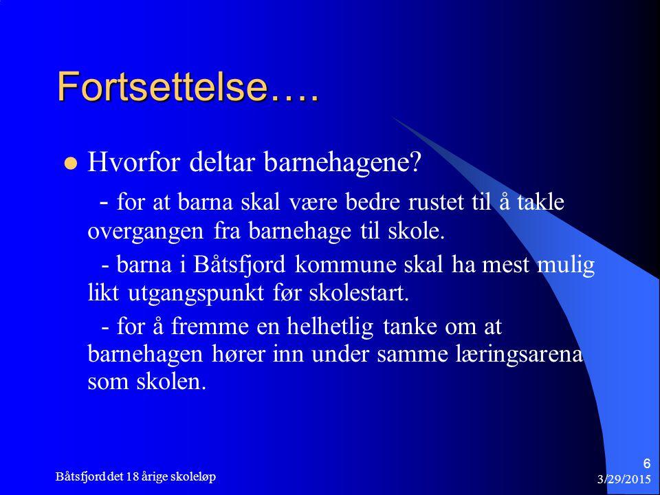 3/29/2015 Båtsfjord det 18 årige skoleløp 6 Fortsettelse…. Hvorfor deltar barnehagene? - for at barna skal være bedre rustet til å takle overgangen fr