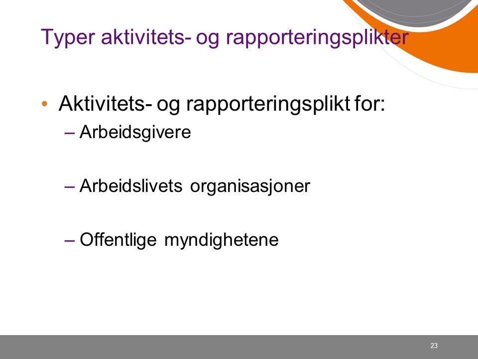 23 Typer aktivitets- og rapporteringsplikter Aktivitets- og rapporteringsplikt for: –Arbeidsgivere –Arbeidslivets organisasjoner –Offentlige myndighetene