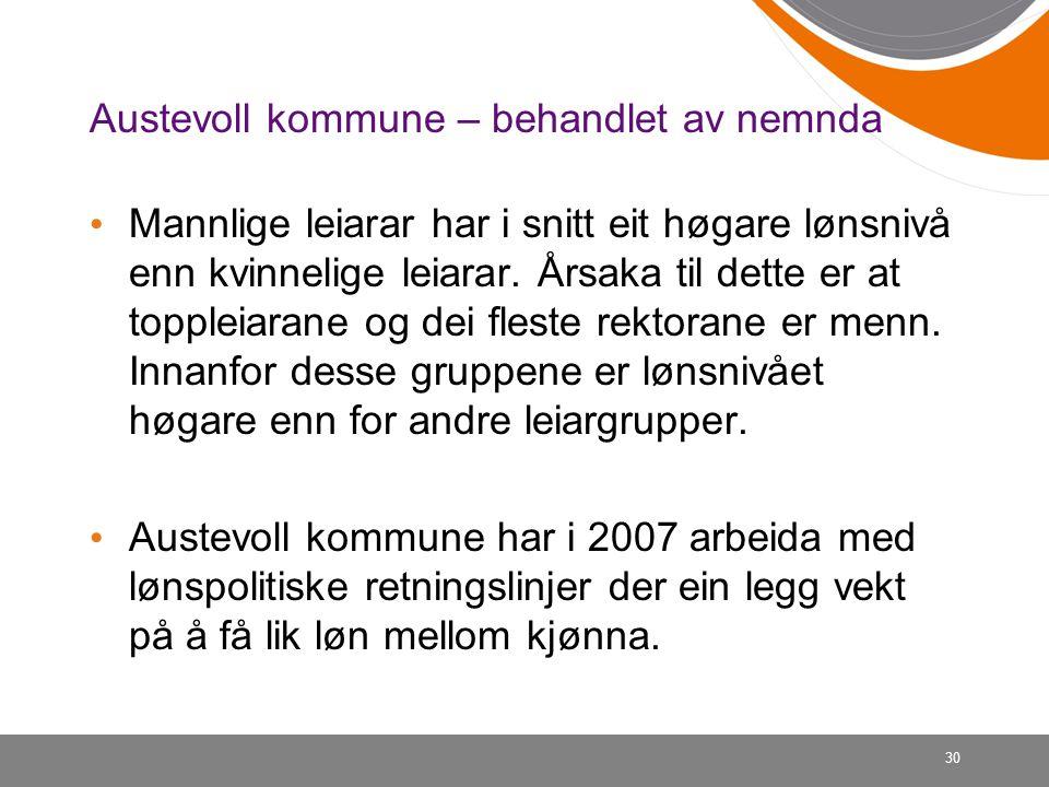 30 Austevoll kommune – behandlet av nemnda Mannlige leiarar har i snitt eit høgare lønsnivå enn kvinnelige leiarar.