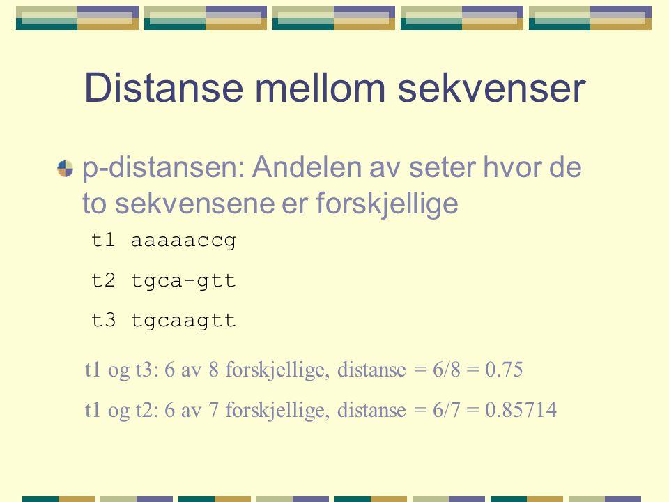 Distanse mellom sekvenser p-distansen: Andelen av seter hvor de to sekvensene er forskjellige t1 aaaaaccg t2 tgca-gtt t3 tgcaagtt t1 og t3: 6 av 8 forskjellige, distanse = 6/8 = 0.75 t1 og t2: 6 av 7 forskjellige, distanse = 6/7 = 0.85714