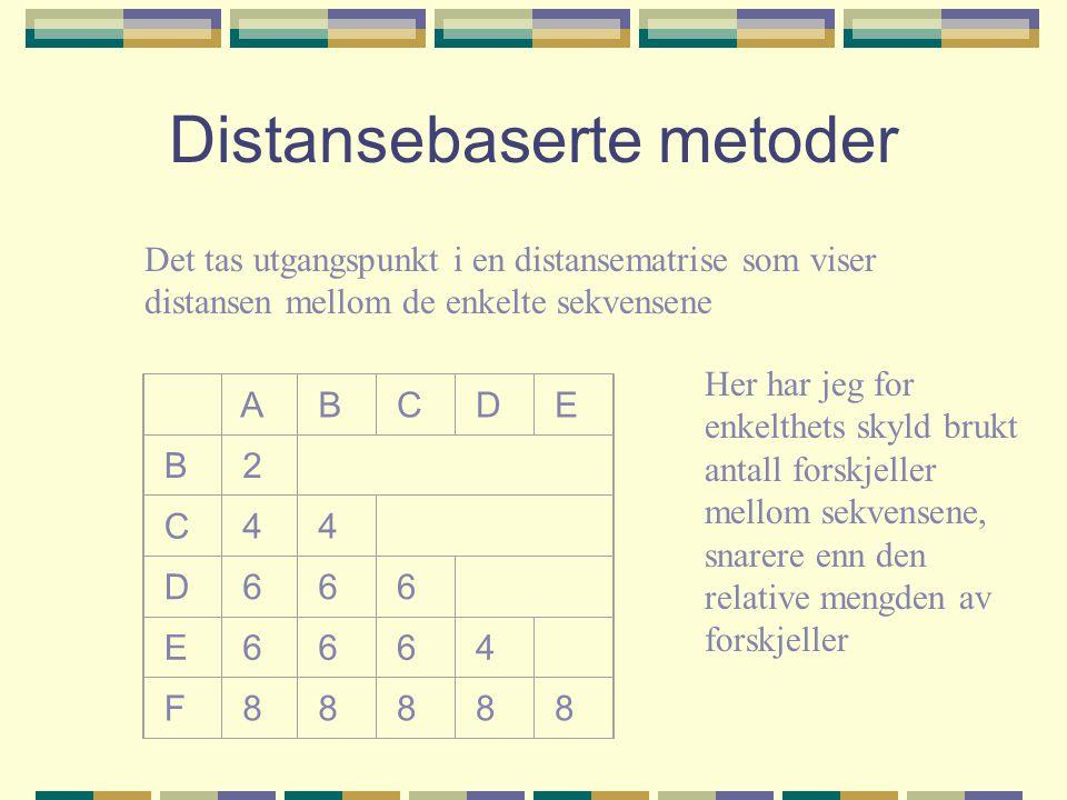 Distansebaserte metoder Det tas utgangspunkt i en distansematrise som viser distansen mellom de enkelte sekvensene A B C D E B 2 C 4 4 D 6 6 6 E 6 6 6 4 F 8 8 8 8 8 Her har jeg for enkelthets skyld brukt antall forskjeller mellom sekvensene, snarere enn den relative mengden av forskjeller