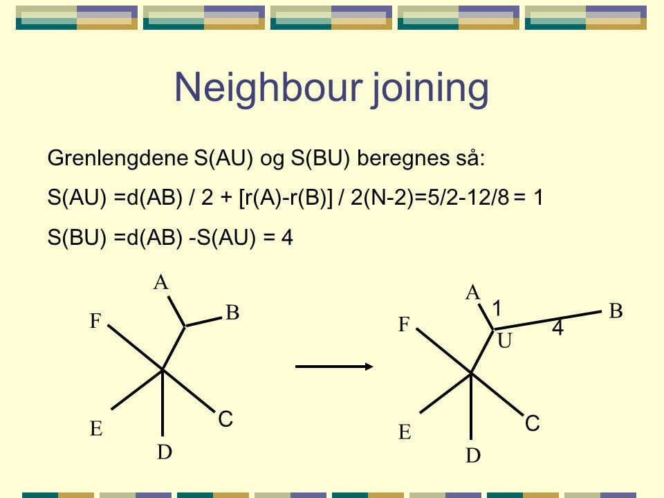 Neighbour joining Grenlengdene S(AU) og S(BU) beregnes så: S(AU) =d(AB) / 2 + [r(A)-r(B)] / 2(N-2)=5/2-12/8 = 1 S(BU) =d(AB) -S(AU) = 4 A B D E F C A B D E F 1 4 U C