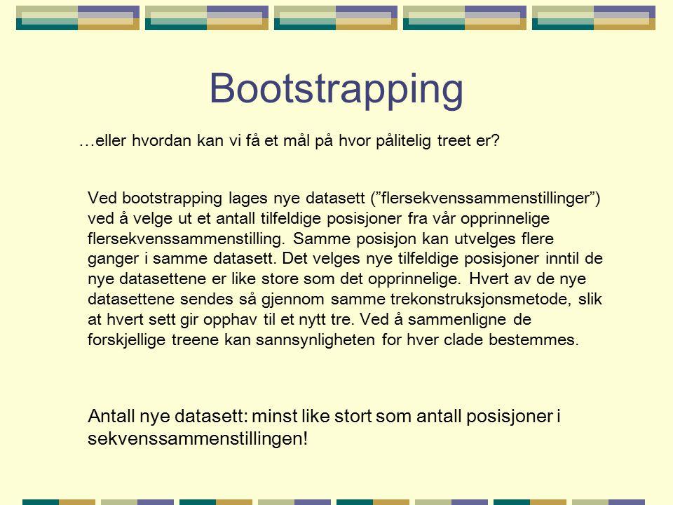 Bootstrapping …eller hvordan kan vi få et mål på hvor pålitelig treet er.