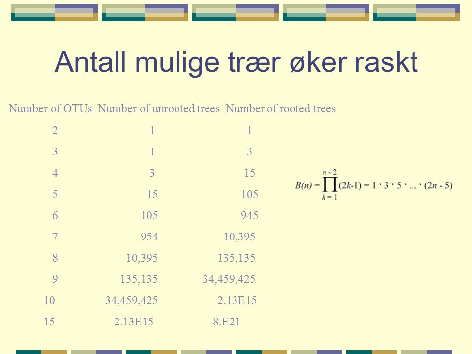 Antall mulige trær øker raskt Number of OTUs Number of unrooted trees Number of rooted trees 2 1 1 3 1 3 4 3 15 5 15 105 6 105 945 7 954 10,395 8 10,395 135,135 9 135,135 34,459,425 10 34,459,425 2.13E15 15 2.13E15 8.E21