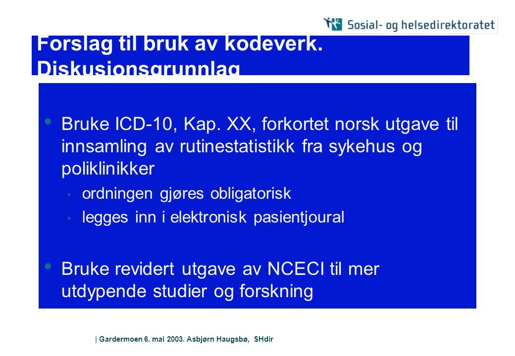 | Gardermoen 6. mai 2003. Asbjørn Haugsbø, SHdir Forslag til bruk av kodeverk. Diskusjonsgrunnlag Bruke ICD-10, Kap. XX, forkortet norsk utgave til in
