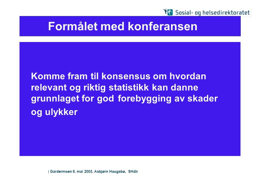   Gardermoen 6. mai 2003. Asbjørn Haugsbø, SHdir Formålet med konferansen Komme fram til konsensus om hvordan relevant og riktig statistikk kan danne