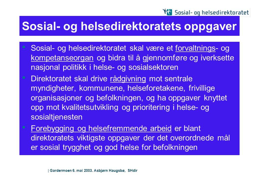 | Gardermoen 6. mai 2003. Asbjørn Haugsbø, SHdir Sosial- og helsedirektoratets oppgaver Sosial- og helsedirektoratet skal være et forvaltnings- og kom